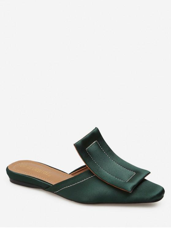 fancy Big Buckle Square Toe Slingback Flats - DEEP GREEN EU 39