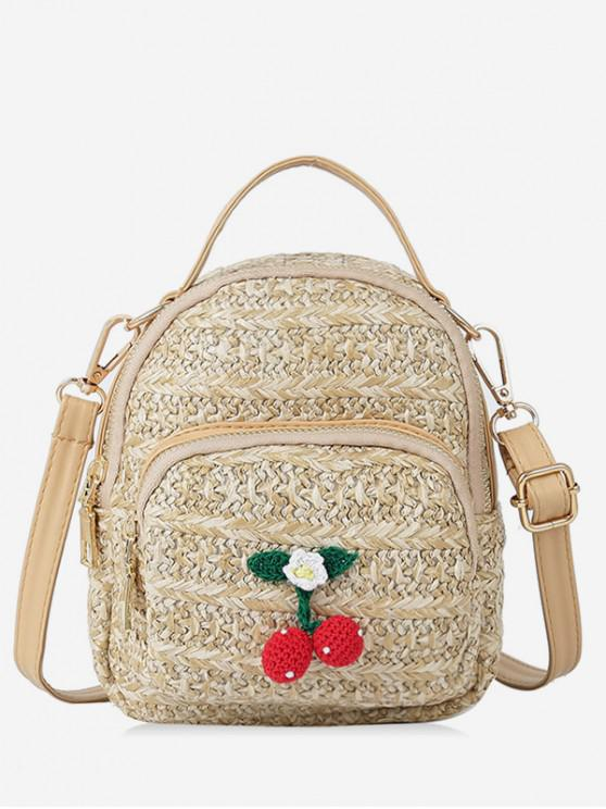 outfits Cherry Decor Woven Straw Crossbody Bag - LIGHT KHAKI