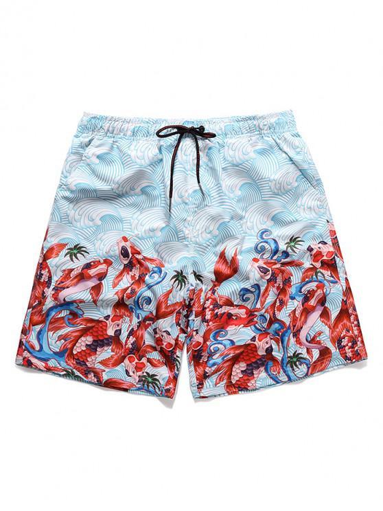 latest Sea Waves Koi Print Casual Board Shorts - RED XL