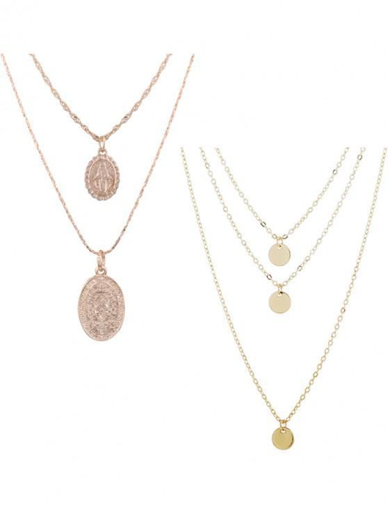 shop 2Pcs Layered Round Necklace Set - GOLD