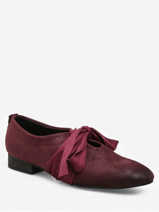 womens Round Toe Bow Tie Low Heel Shoes - RED WINE EU 39