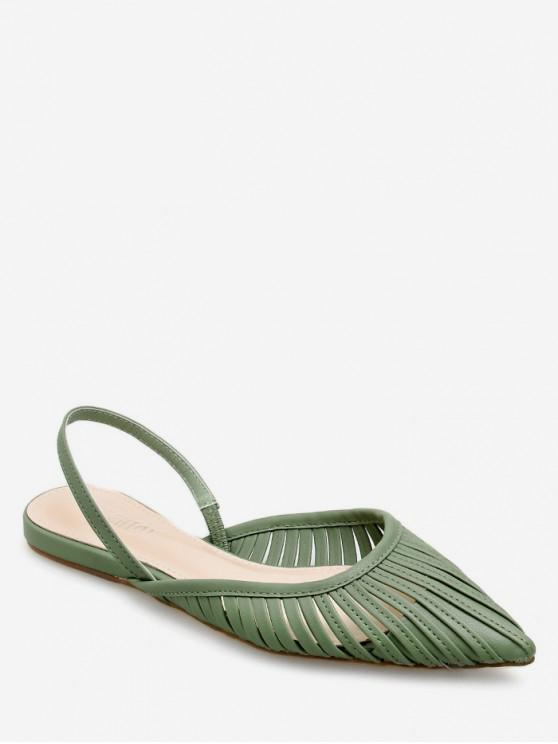 shop Ethnic Pointed Toe Slingback Flats - GREEN EU 38