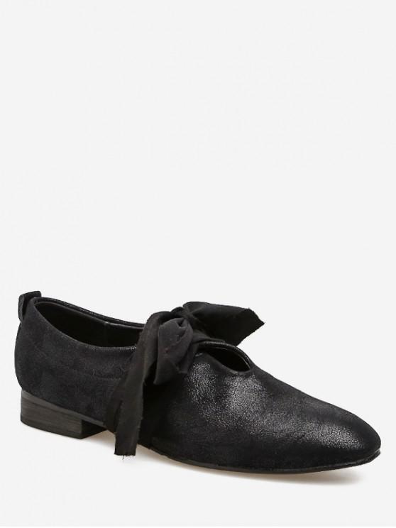 fashion Round Toe Bow Tie Low Heel Shoes - BLACK EU 39