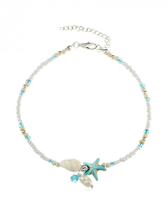 unique Beaded Conch Starfish Anklet - SILVER