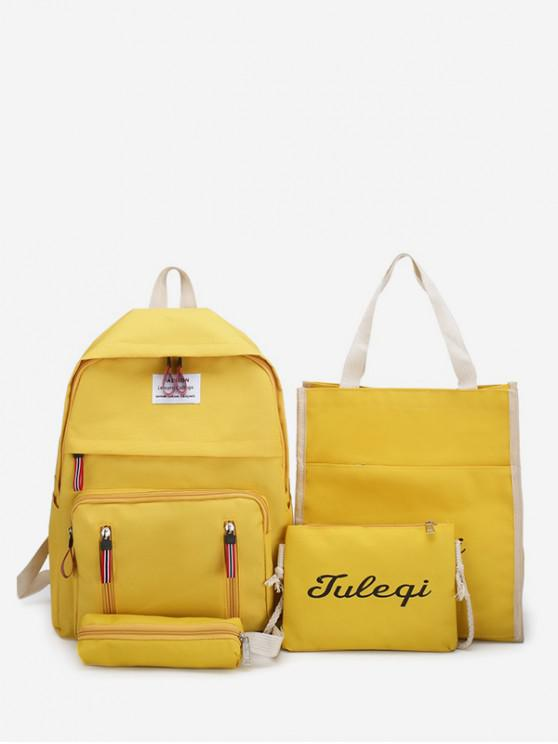 affordable 4 Piece Multi-function Canvas Backpack Set - YELLOW