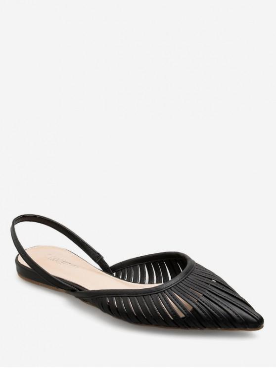 buy Ethnic Pointed Toe Slingback Flats - BLACK EU 38