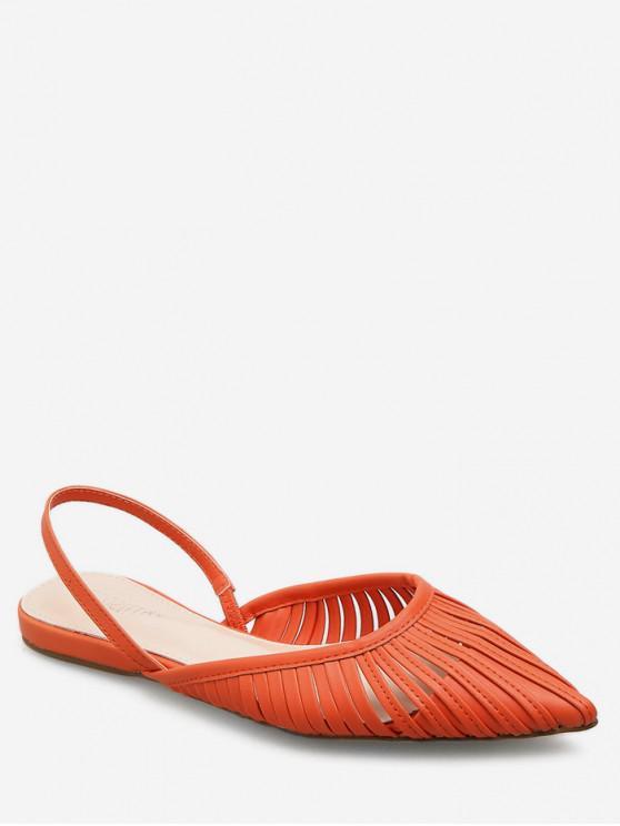 womens Ethnic Pointed Toe Slingback Flats - ORANGE EU 36
