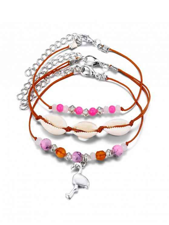 outfits 3Pcs Shell Beaded Animal Anklet Set - LIGHT PINK