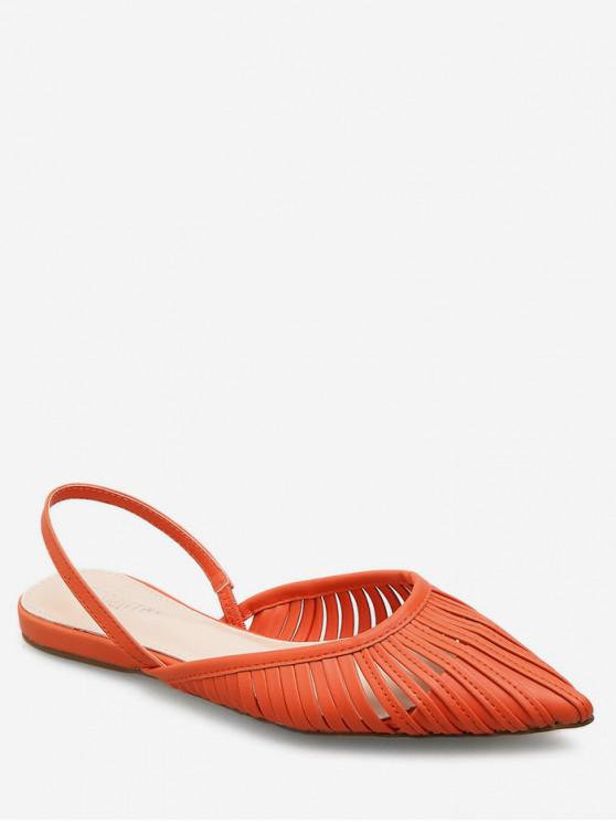 shop Ethnic Pointed Toe Slingback Flats - ORANGE EU 35