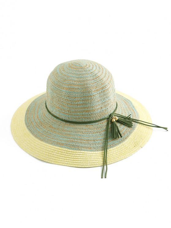 sale Fringe Decor Wide Brim Straw Hat - CLOVER GREEN