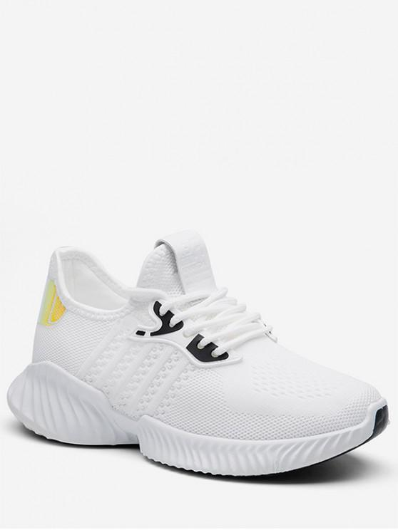 latest Holographic Detail Woven Breathable Sports Shoes - WHITE EU 37