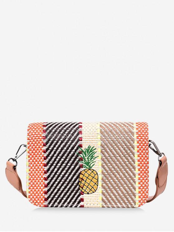 trendy Pineapple Striped Square Crossbody Bag - MULTI