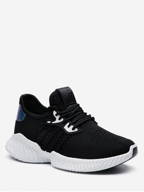 affordable Holographic Detail Woven Breathable Sports Shoes - BLACK EU 35
