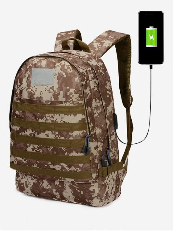 buy USB Camouflage Print Large Capacity Backpack - KHAKI