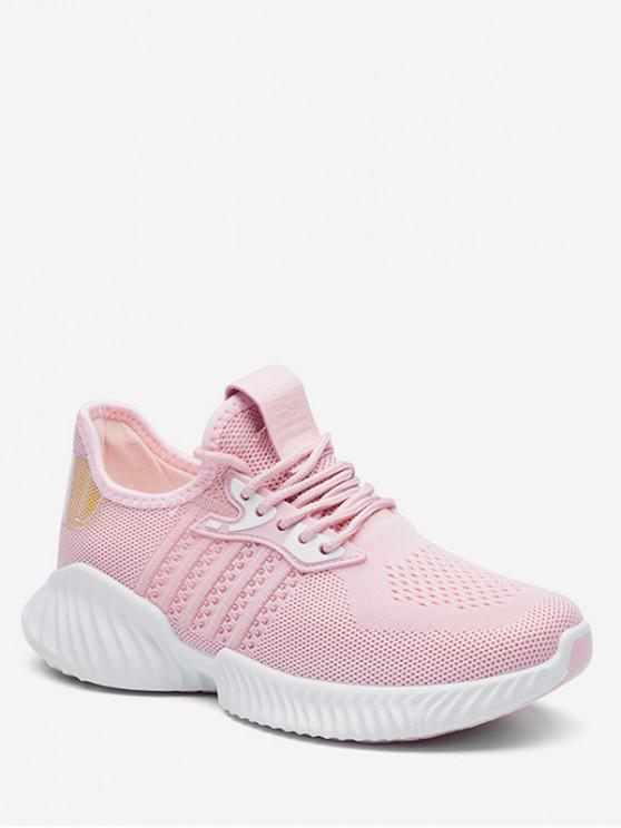 womens Holographic Detail Woven Breathable Sports Shoes - PINK EU 36