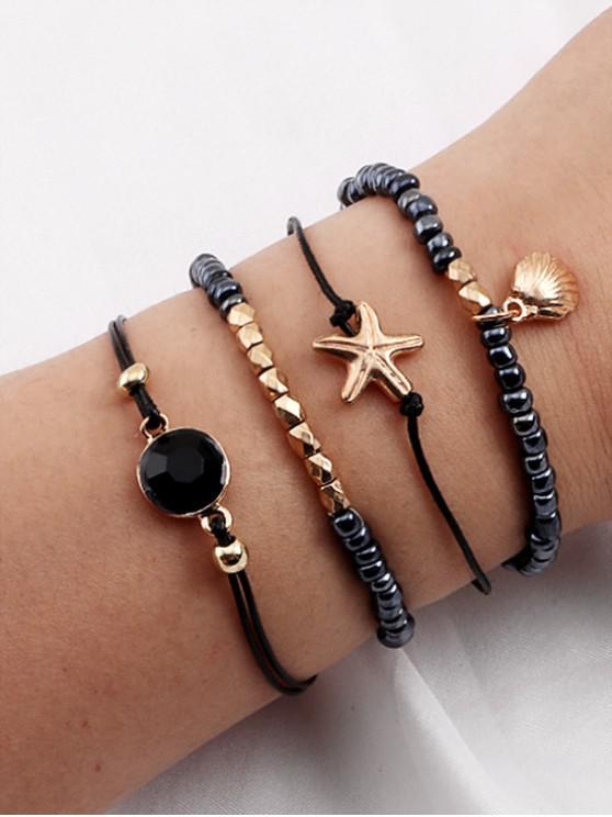 new 4Pcs Shell Starfish Beaded Bracelet Set - GOLD