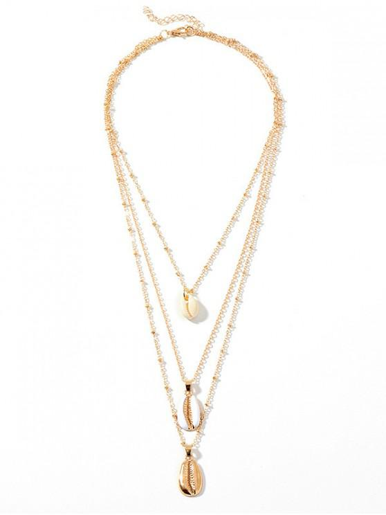 outfit Layered Shell Shape Necklace - GOLD