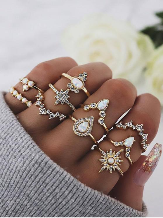 fashion 10Pcs Rhinestone Geometric Ring Set - GOLD