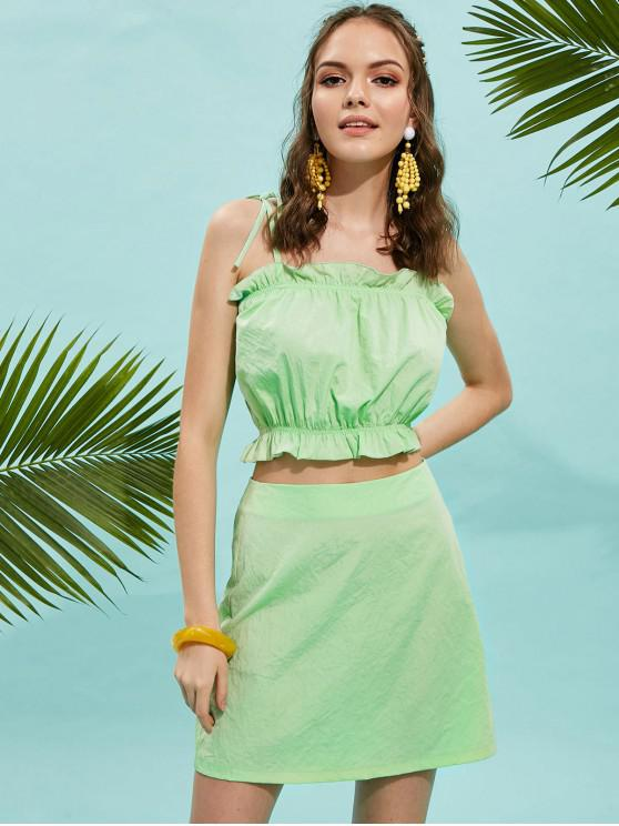 affordable ZAFUL Frilled Tie Shoulder Cami Top and Skirt Set - AQUAMARINE S