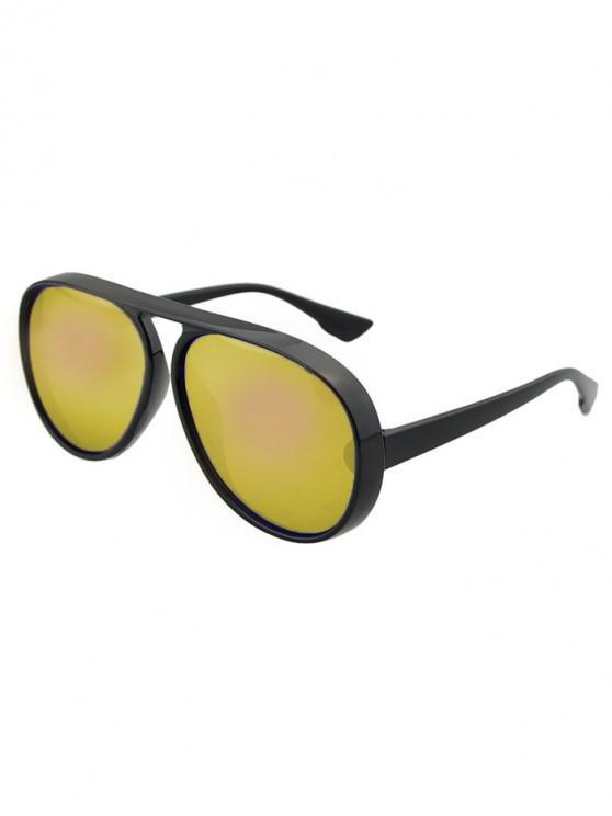 womens Oversized Thick Rim Pilot Sunglasses - GOLD