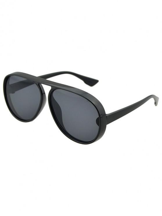 online Oversized Thick Rim Pilot Sunglasses - BLACK