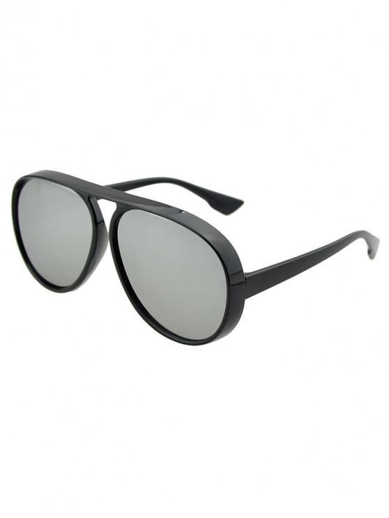 hot Oversized Thick Rim Pilot Sunglasses - BLACK EEL