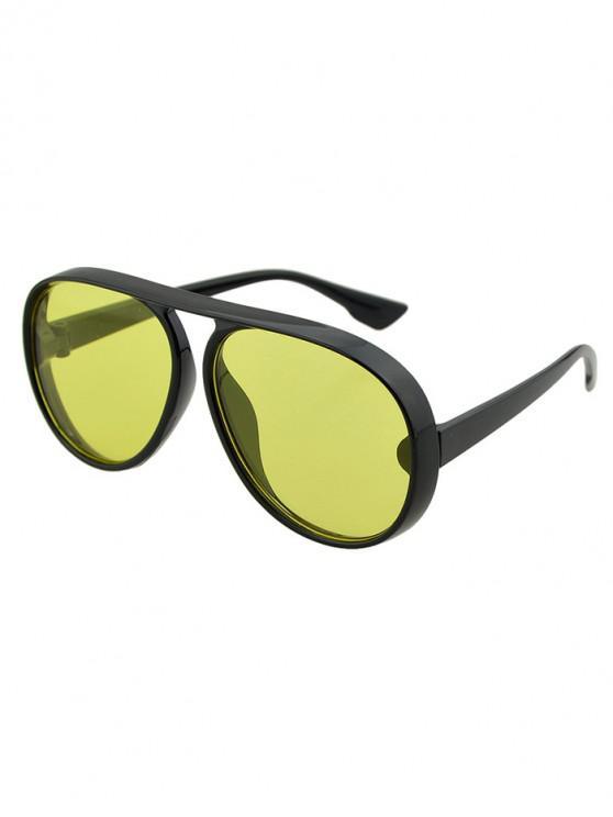 shop Oversized Thick Rim Pilot Sunglasses - YELLOW