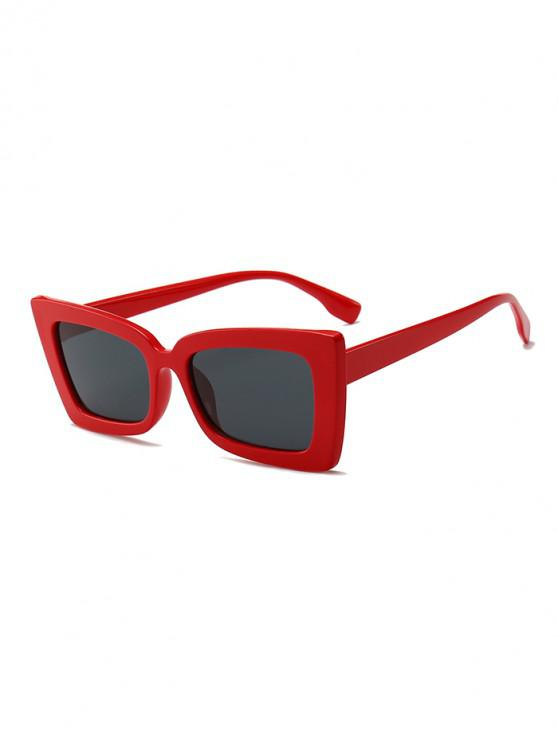 fashion Rectangle Wide Rim Sunglasses - LAVA RED REGULAR