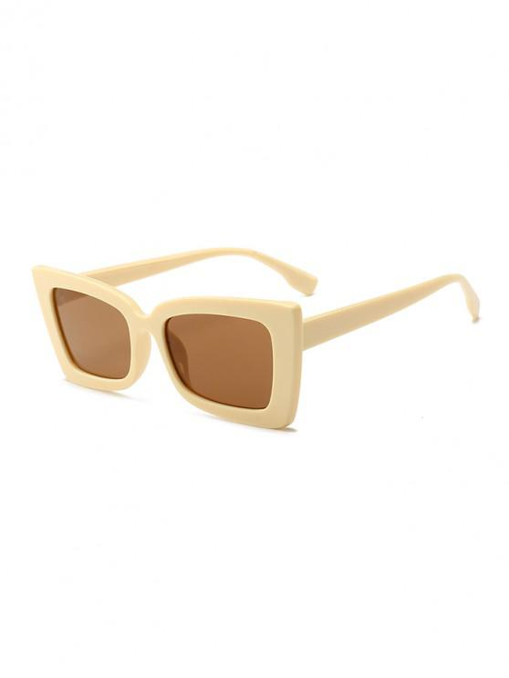 fancy Rectangle Wide Rim Sunglasses - CHAMPAGNE GOLD REGULAR