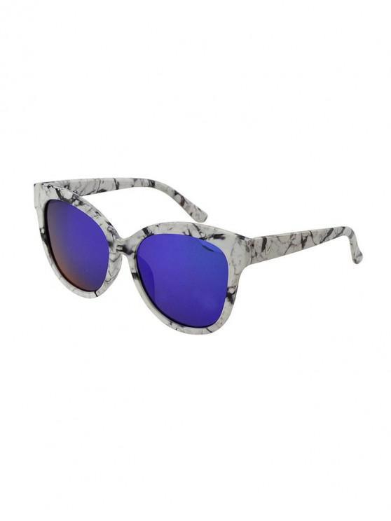 sale Marbling Square Mirror Sunglasses - BLUE KOI