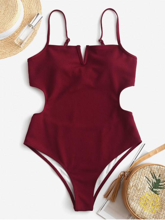 buy ZAFUL V-wired Ribbed Monokini - RED WINE L