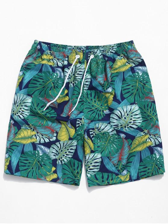 trendy Tropical Plants Print Casual Board Shorts - SEA GREEN L