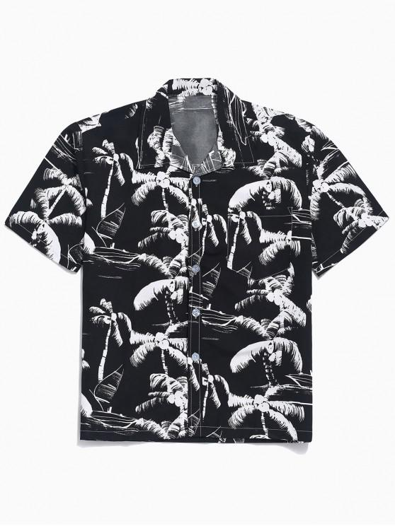 ladies Short Sleeves Palm Tree Painting Print Casual Shirt - BLACK XS