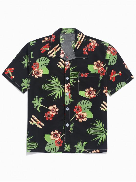 shop Flower Plant Print Beach Casual Shirt - BLACK M