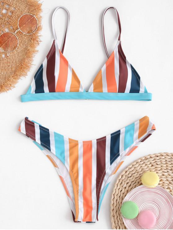 shop ZAFUL Colorful Stripe Bikini Set - MULTI-A L