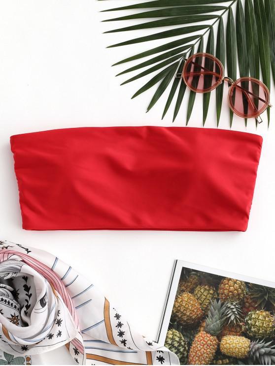 trendy ZAFUL Boning Side Padded Bandeau Bikini Top - RED L