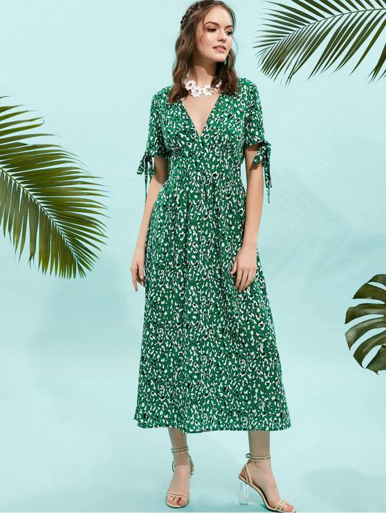 hot ZAFUL Knotted Sleeve Leopard Maxi Dress - SEA TURTLE GREEN M