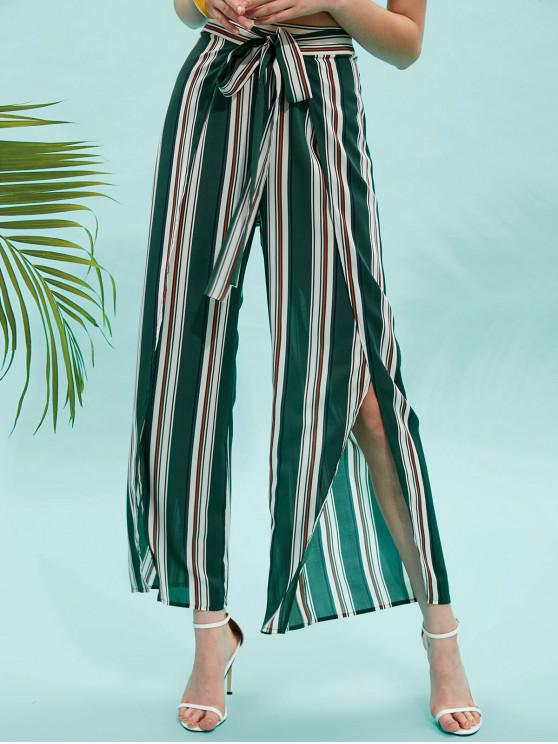 ladies ZAFUL Striped Knotted Overlap Pants - SEA TURTLE GREEN M