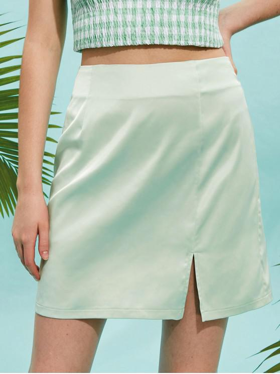 outfit Slit Satin Skirt - GREEN PEAS S