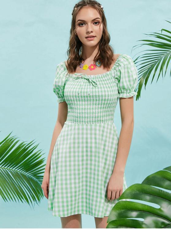 buy ZAFUL Square Smocked Plaid Mini Dress - GREEN M