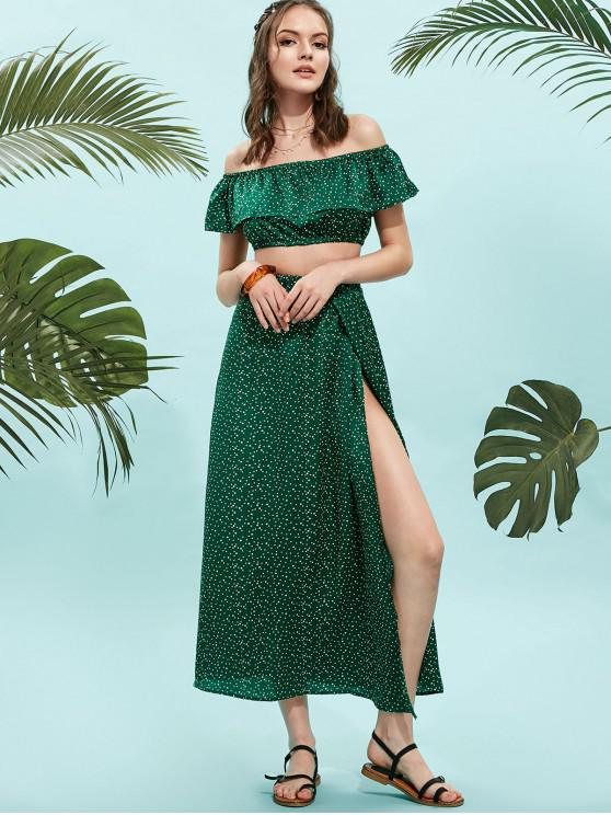 ladies ZAFUL Dotted Off Shoulder Top And Slit Skirt Set - MEDIUM FOREST GREEN S