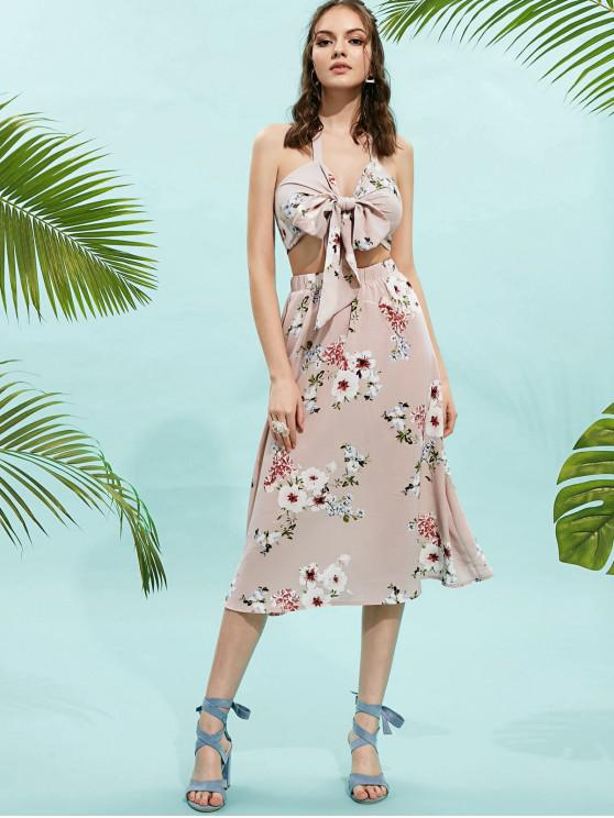 f86518016fe1 29% OFF] 2019 ZAFUL Knotted Floral Wrap Top And Skirt Set In LIGHT ...