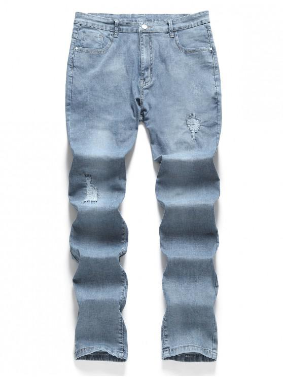 Patchwork- Stil-- Einfarbige Jeans - Baby Blau 38