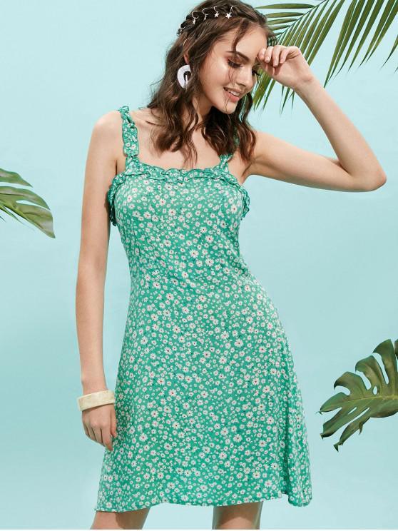shops ZAFUL Floral Print Ruffle Straps Flare Dress - ALGAE GREEN L
