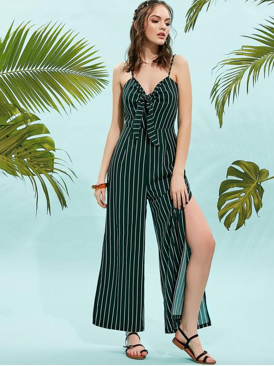 shop ZAFUL Tie Front High Slits Striped Cami Jumpsuit - DEEP GREEN M