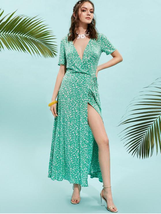 shop ZAFUL V Neck Floral Print Maxi Wrap Dress - GREEN S