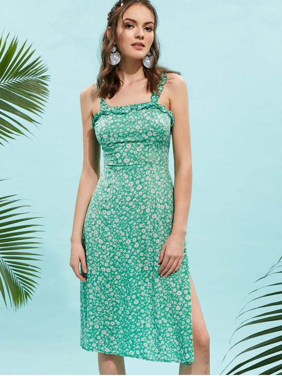 affordable ZAFUL Knotted Back Ruffles Floral Print Dress - GREEN M