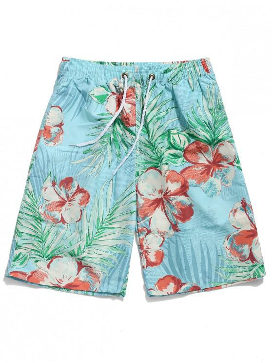 online Floral Leaf Painting Print Beach Shorts - LIGHT BLUE XL