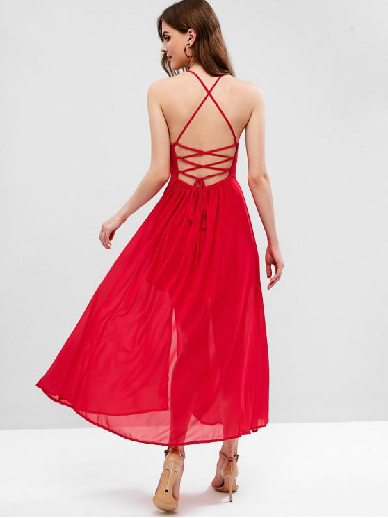 trendy Lace Up Criss Cross Slit Cami Dress - RED M