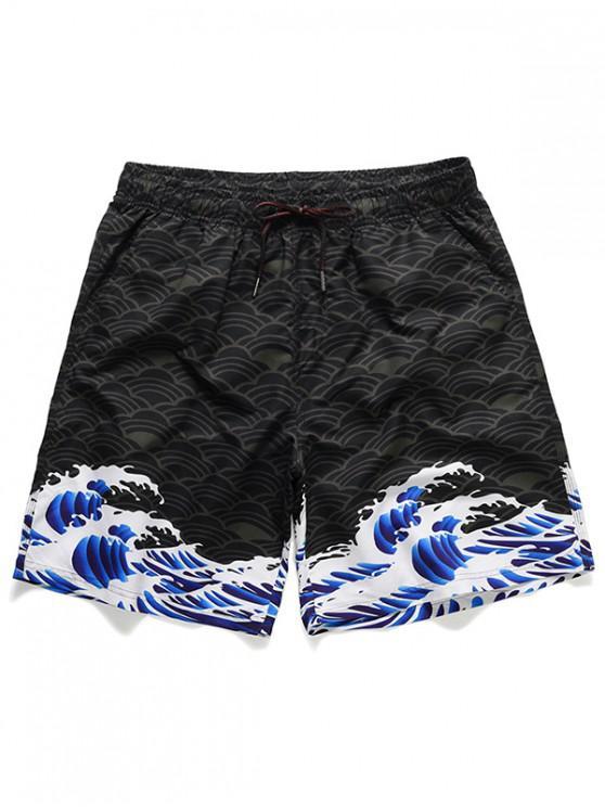 womens Sea Wave Koi Print Casual Beach Shorts - BLACK 2XL